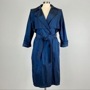 Vtg Forecaster Blue Double Breasted Trench Coat
